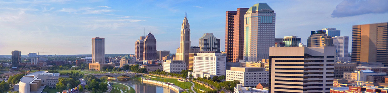 Columbus skyline and Scioto River
